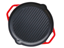 Enamel Cast Iron Grill Pan with Double Handle