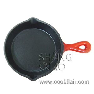 Cast Iron Enamel Skillet with Two Oil Spouts