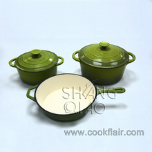 Enameled Cast Iron Casserole and Cast Iron Enamel Sauce Pan Set