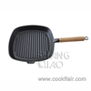 Pre-seasoned Cast Iron Square Grill Pan with Wooden Handle