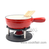 Cast Iron Cheese Fondue Set Red