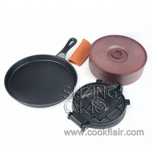 Cast Iron Tortilla Press With Skillet and Tortilla Warmer