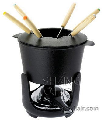Matte Black Enameled Cast Iron Fondue Set
