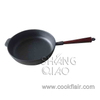 Cast Iron Frying Pan with Wooden Handle