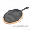 Pre-seasoned Cast Iron Ribbed Grill Pan with Wooden Base