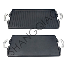Pre-seasoned Cast Iron Double Side Griddle Pan with Wire Handles